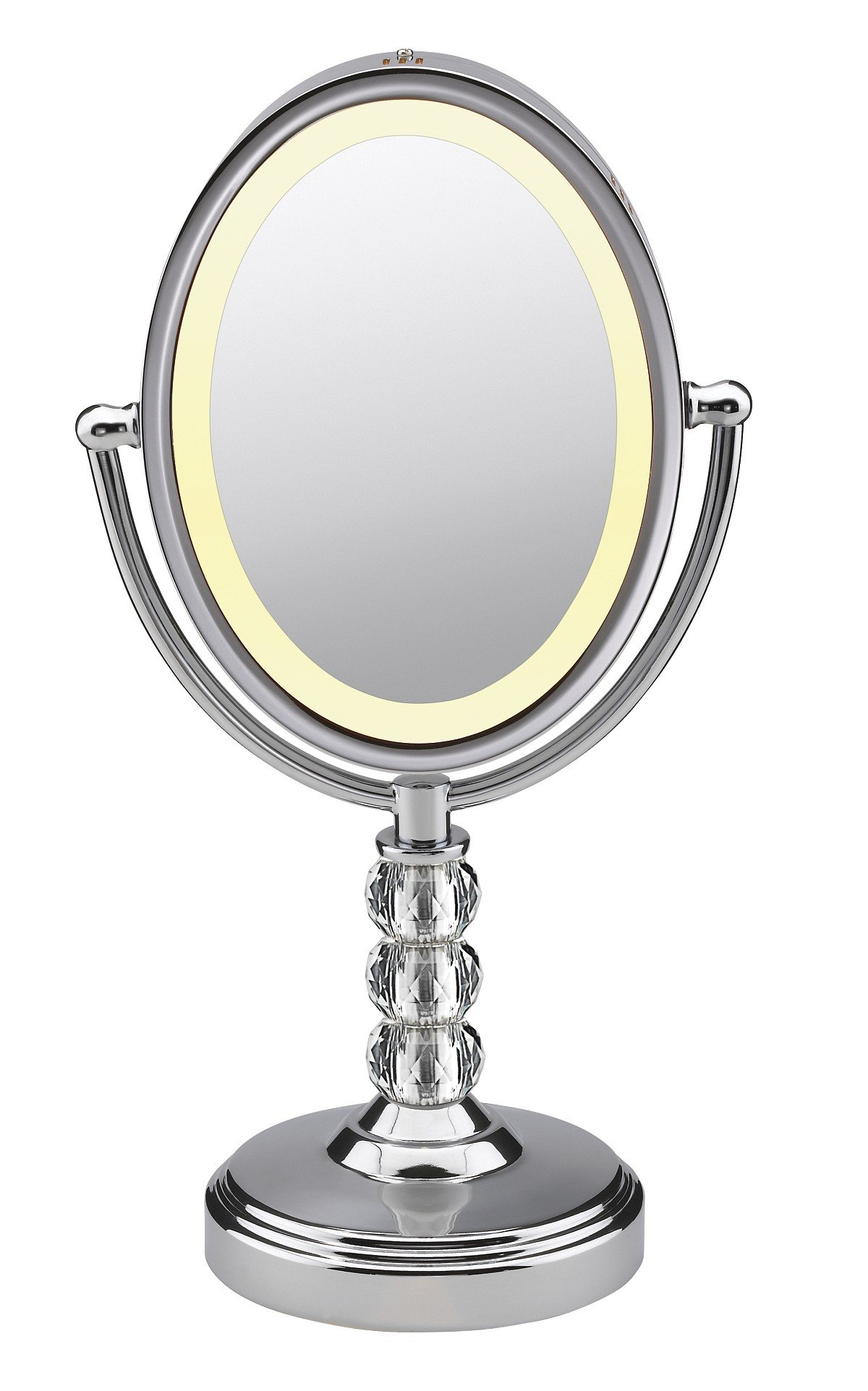 Conair Oval Shaped Double-Sided Lighted Makeup Mirror; 1x/7x magnification; Polished Chrome w/ Crystal Ball Stem