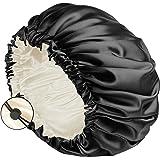 Auban Large Bonnet Sleep Cap Hair Wrap for Curl, Double Layer Satin Lined Bonnet for Sleeping Adjustable Elastic Lace Band La