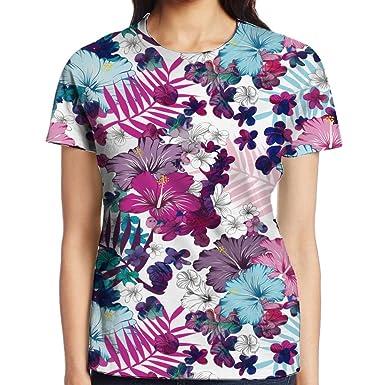 a798fe2edd92 FGHJHJY Womens Novelty Short Sleeve U-Neck 3D T Shirt Bohemia Floral Flower  T-