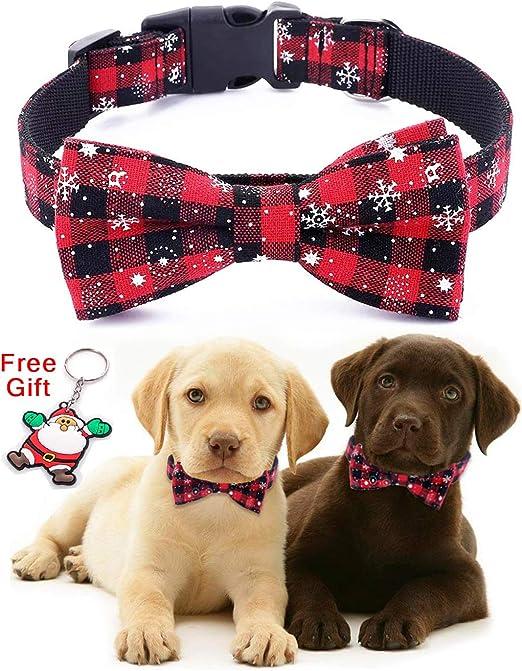 Collar para Perros de navideño Navidad con Pajarita - 100% algodón Diseño de Nylon Collar para Perros Ajustable Hecho a Mano - Moda Linda para Perros ...