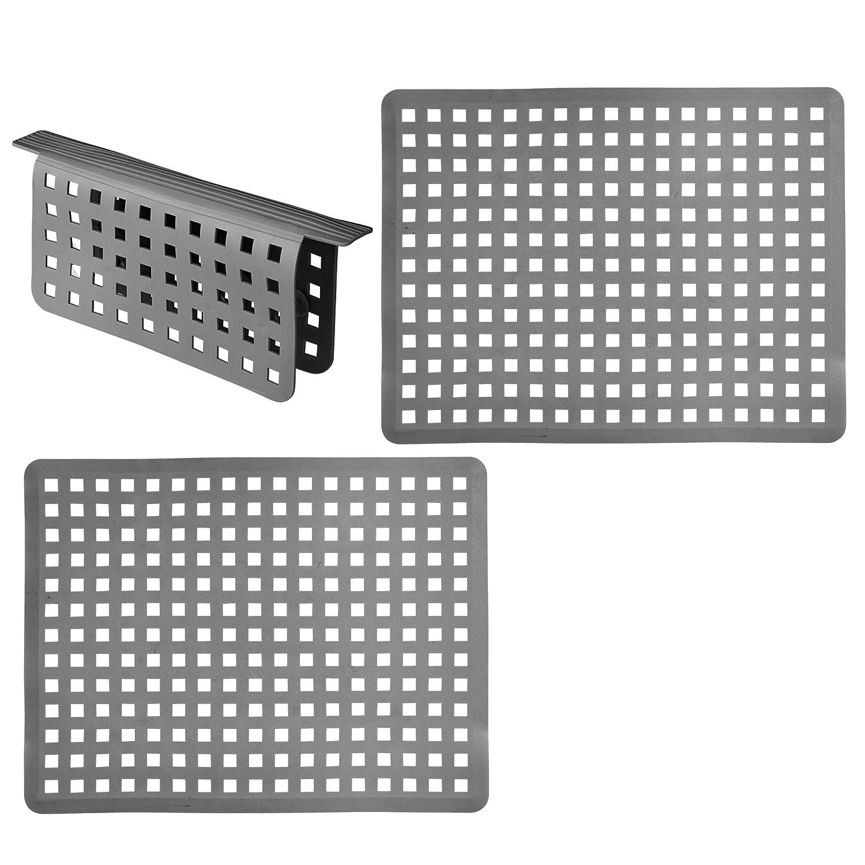 mDesign Set da 3 Tappetini per lavello cucina in plastica – Grande tappetino lavandino protettivo con design a griglia – Accessori cucina per lavello a doppia vasca – grigio ardesia MetroDecor