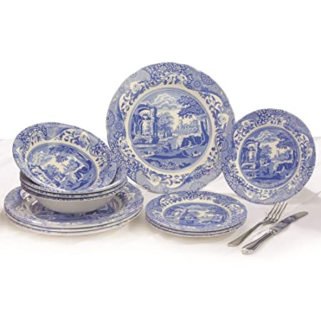 Spode Blue Italian - Made in England (12 Piece Dinner Plate Set)  sc 1 st  Amazon UK : blue dinner plate sets - pezcame.com