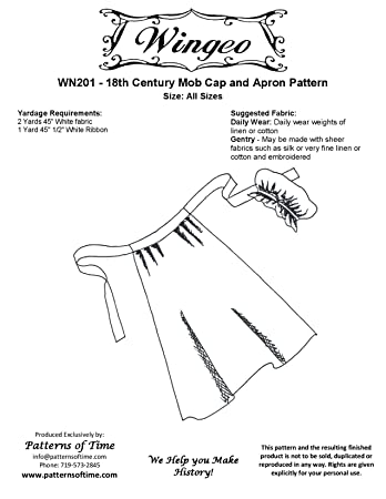 amazon 18th c mob cap and apron pattern home kitchen Colonial Scarf Pattern