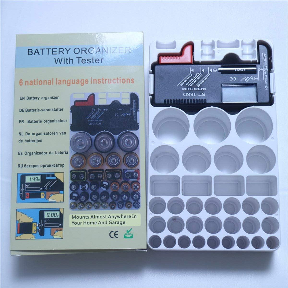 Greatangle Probador de bater/ía Probador de Capacidad de bater/ía Comprobaci/ón del Nivel de Potencia para bater/ías de 1.5V a 9V Pantalla Digital BT-168D Negro y Rojo