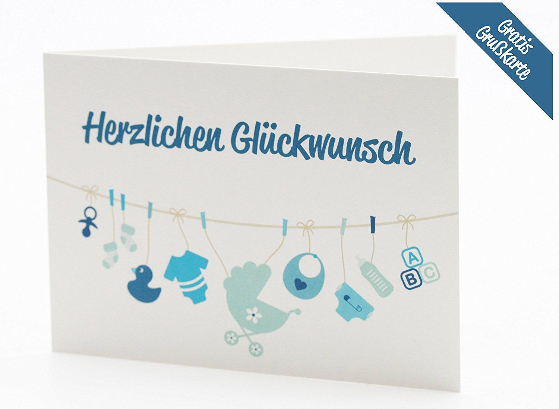 gratis K/ärtchen mit Gru/ßbotschaft das perfekte Geschenk zur Geburt Gro/ße Windeltorte//Windelmotorrad blau f/ür Jungen