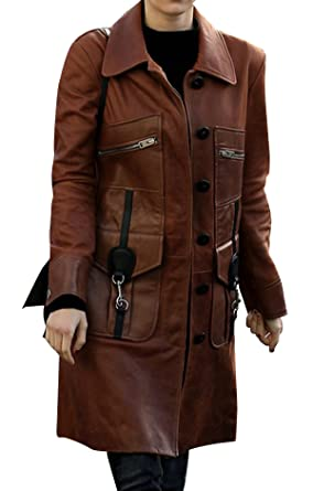 8f18d0b07 Spazeup Women Classic Brown Leather Trench Coat at Amazon Women's ...