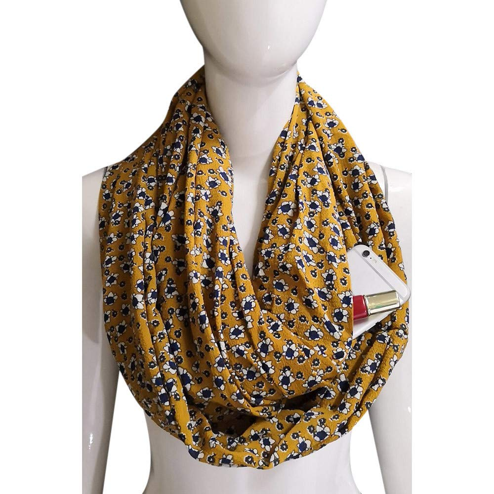 Inverlee Fashion Women Winter Thermal Active Infinity Scarf With Zip Pocket
