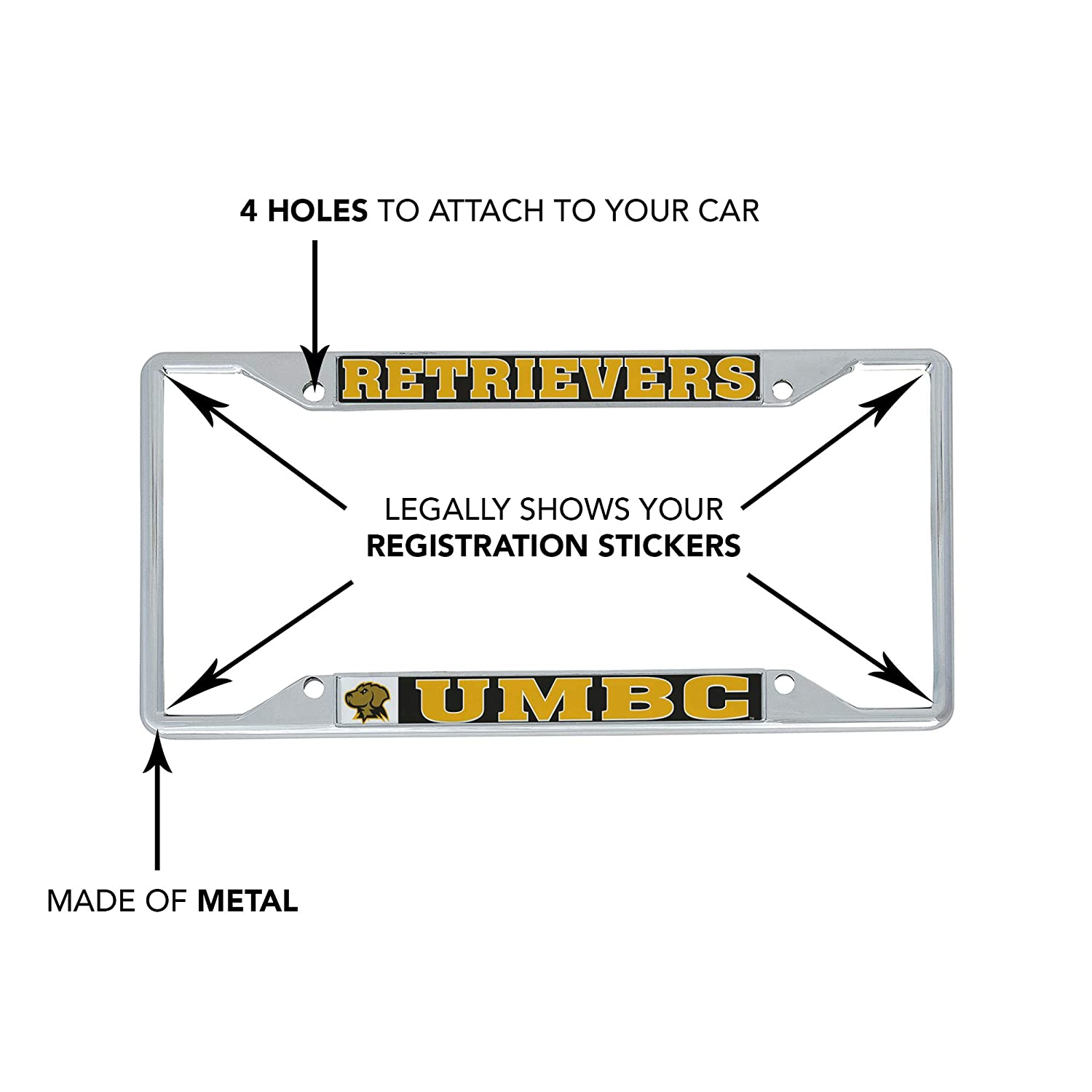 Mascot Desert Cactus University of Maryland Baltimore County UMBC Retrievers NCAA Metal License Plate Frame for Front Back of Car Officially Licensed