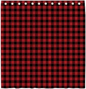 Allenjoy 72x72 Inch Red Black Buffalo Plaid Shower Curtain for Bathroom Sets Christmas Rustic Lumberjack Farmhouse Style Home Bath Decors Bathtub Decorations Durable Waterproof Fabric with 12 Hooks