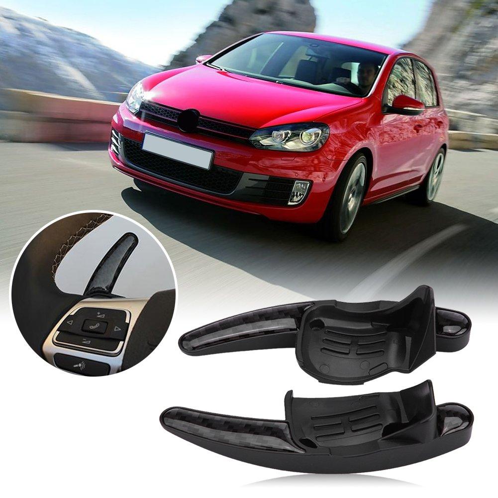 Palanca del interruptor de cambio de la palanca de cambio de la cuchilla del coche Fibra de carbon 2pcs Paleta del cambio del volante