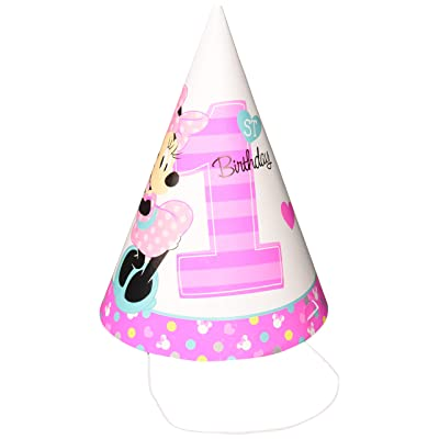 "Amscan 251834 Disney Minnie's""Fun To Be One"" Paper Cone Hats, Birthday, Multicolor, Pack of 8: Toys & Games"