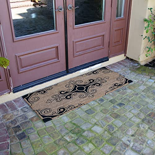 Rubber-Cal Traditional Fleur de Lis French Mat Large Front Door Mat, 24 by 57-Inch