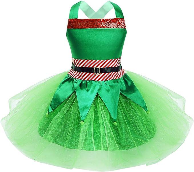 Freebily Disfraz Elfo Duende Navidad Niñas Vestido Tutú ...