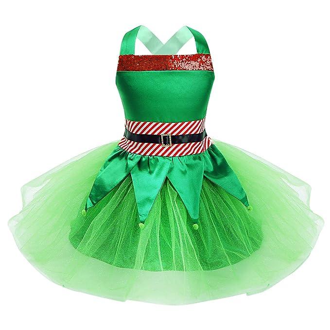 dPois Disfraz Elfa Niña Navidad Traje de Ayudante de Santa Vestido ...