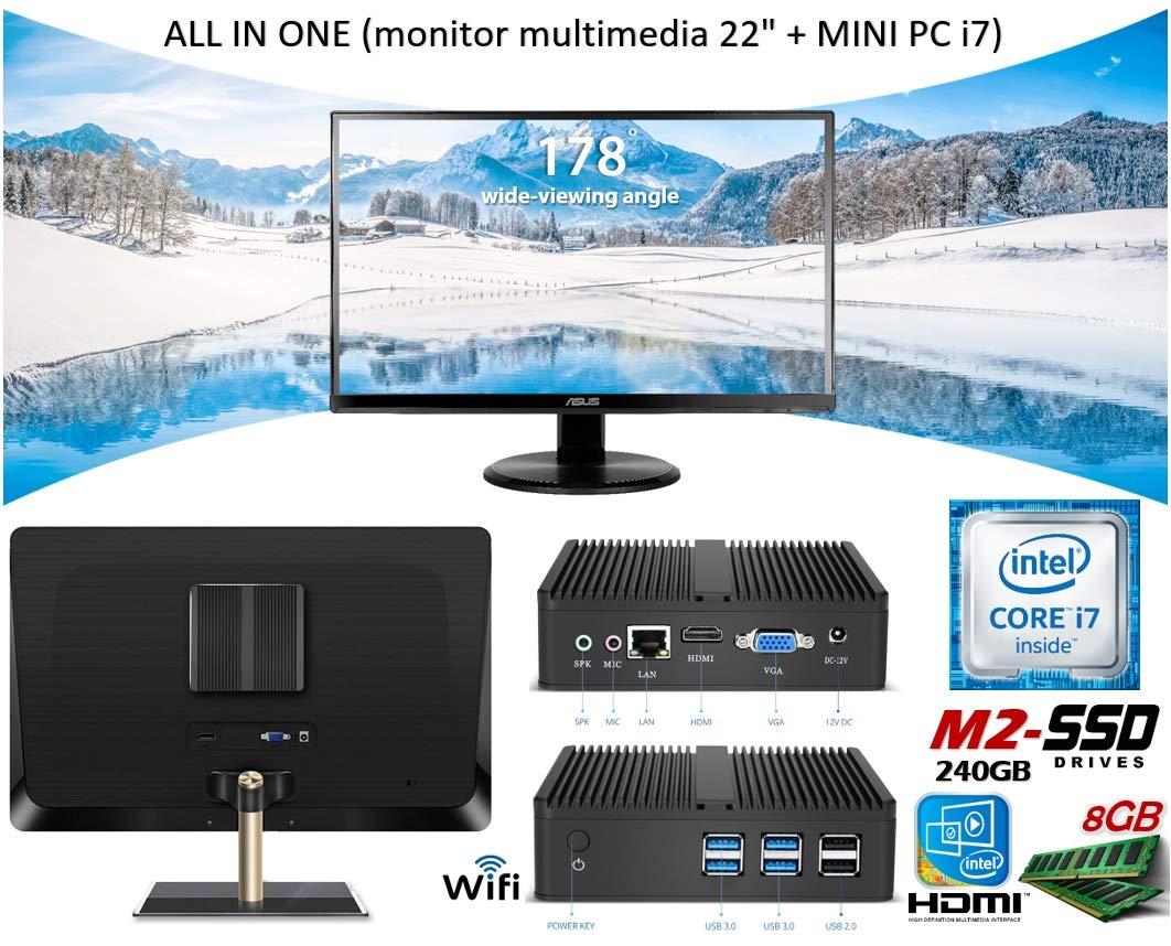 All IN One Monitor LED 22 ASUS + Mini PC i7 | 8GB RAM | M2-SSD 240GB | Intel Graphics 4400 HDMI | USB 3.0 | WiFi | Totalmente SILENCIOSO | Win 10: ...