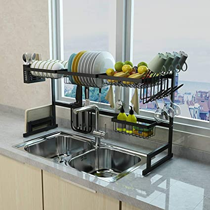Xue Shelf 65 Dish Drainer Holder Black Stainless Steel Kitchen Rack