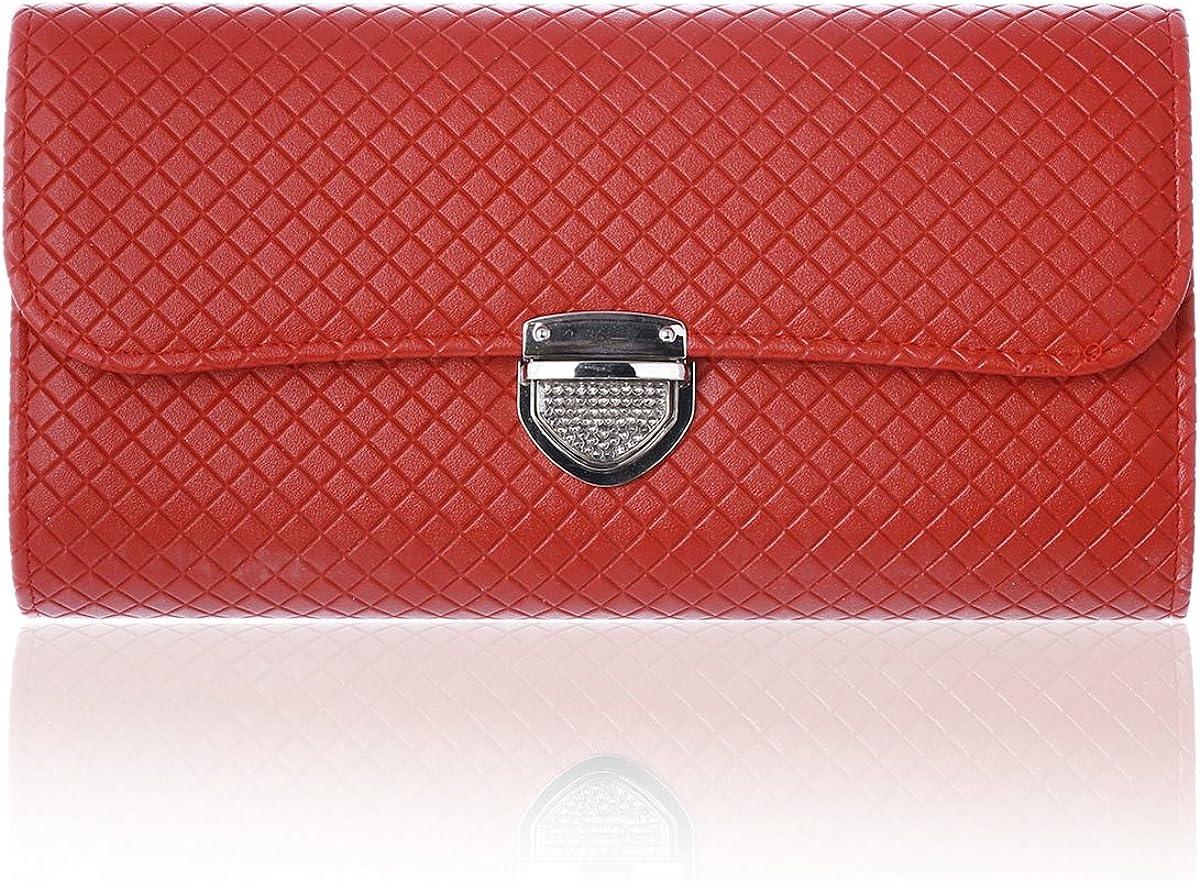 Damara Lady Large Lattice Push Lock Clutch Shoulder Chain Bags