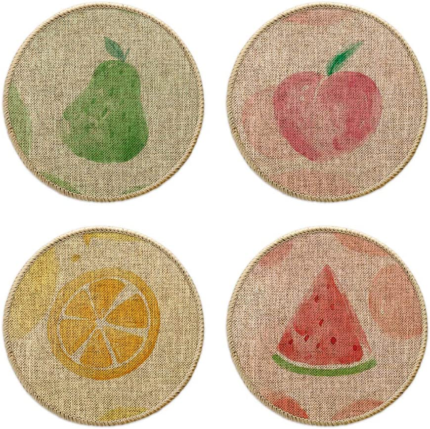 Artoid Mode Watercolor Watermelon Lemon Apple Pear Kitchen Trivet Mats For Dining Table, Summer Seasonal 8 Inch Classic Daily Use Holiday Party Heat Resistant Pot Holders Hot Pads Set Of 4