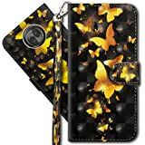 "Moto X4 Wallet Case, Motorola X4 Premium PU Leather Case, COTDINFORCA 3D Creative Painted Effect Design Full-Body Protective Cover for Motorola Moto X4 2017 (5.2"" inch). PU- Golden Butterfly"