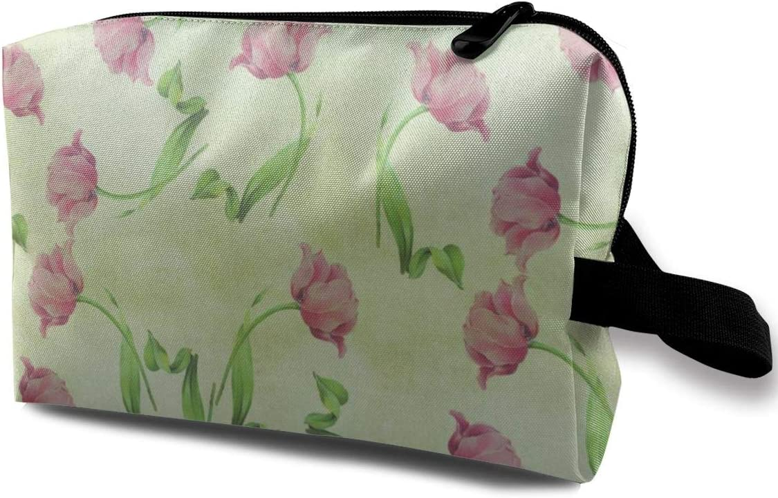 Amazon Com Yunshm Vintage Style Pink Tulip Flower Wallpaper Cosmetic Storage Bag Waterproof Woman For Travel Carry Bag Customized Home Kitchen