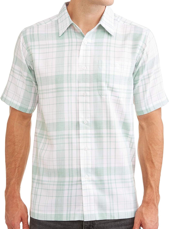 George Mens Short Sleeve Microfiber Shirt 3XL 54//56, Purple Plaid