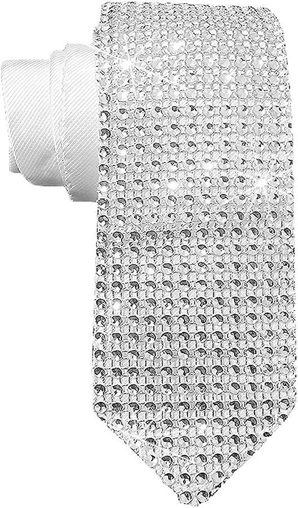Mens Sequin Skinny Tie - MJ Michael necktie Great for Weddings, Parties, Costumes, Halloween Sequin Sparkle Necktie