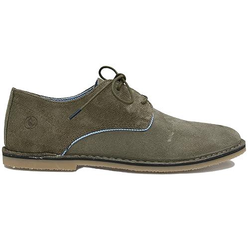 El Ganso Bajo Guerrero Ante Marron y Verde. Zapato de Cordones para Hombre. (