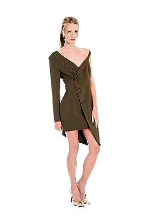 b0e369c4cf4c Lavish Alice Women s Asymmetric Tuxedo Woven Dress - Khaki (UK 8 (EU ...
