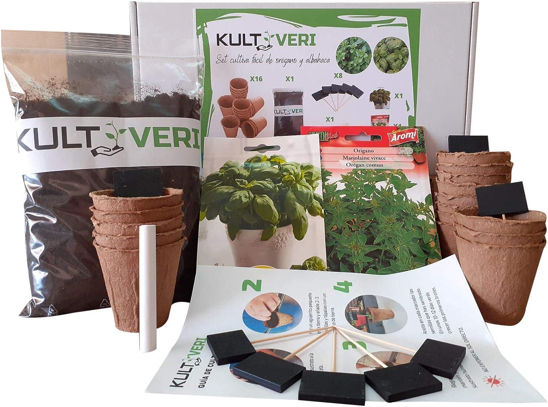 KULTIVERI Set de Cultivo de Albahaca y Orégano: Macetas de Germinación Biodegradables. CREA tu Propio Huerto en Casa.
