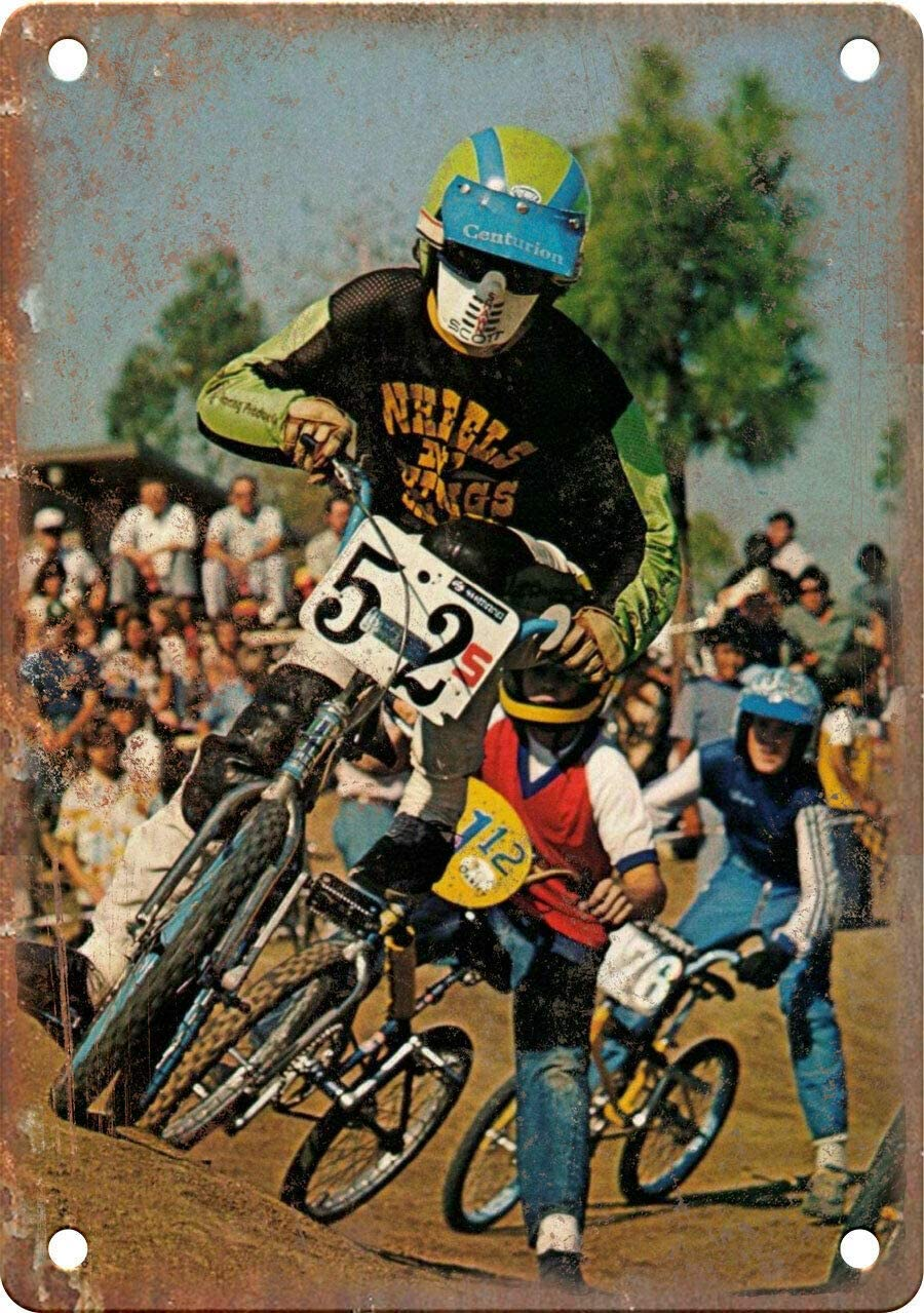 "Funny Aluminum Retro Metal Sign 12""X18"" Vintage BMX Magazine Racing Photo Vintage Decorational Sign for Home Office Wall Decor"