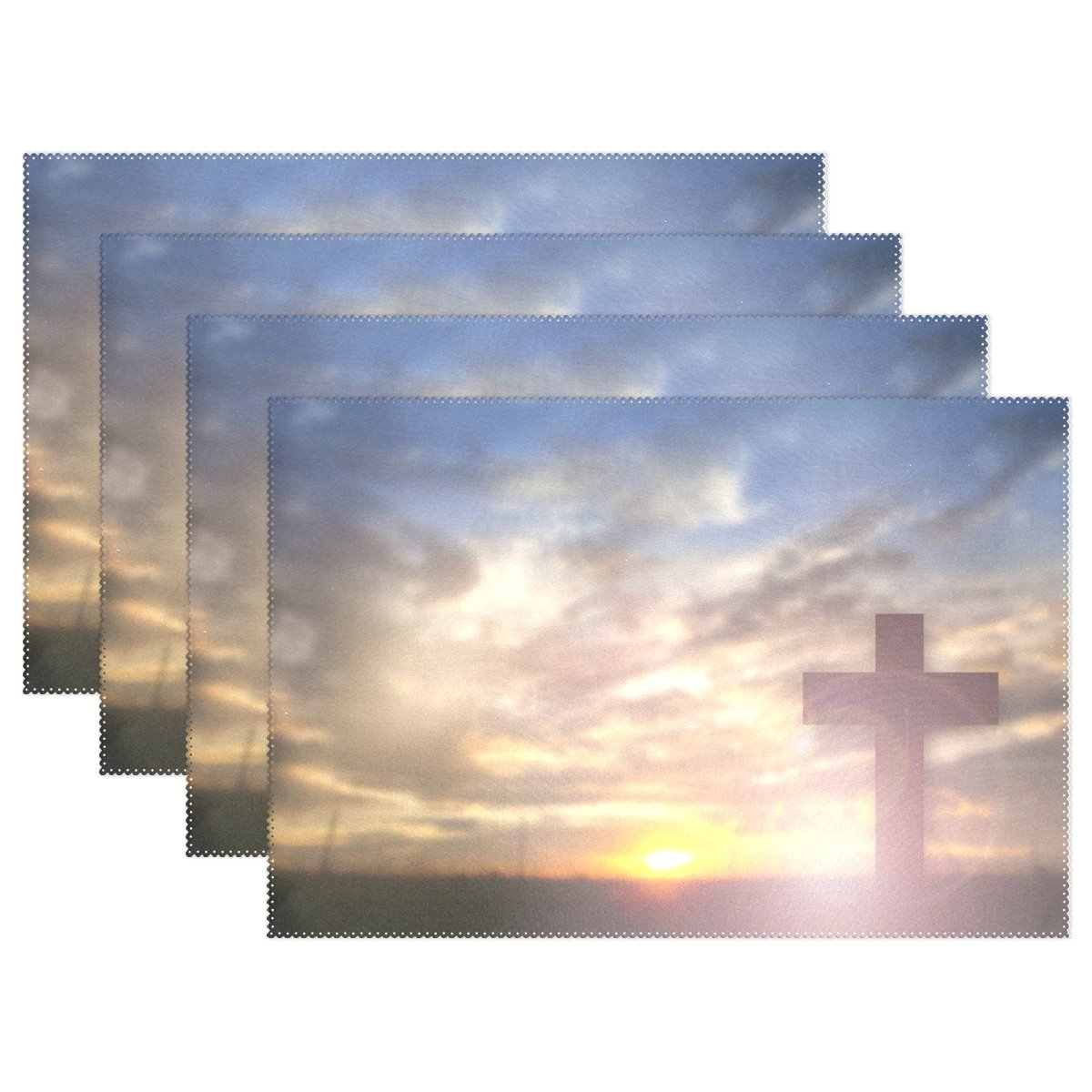 ALAZA Vintage Christian Praise Easter Placemat Plate Holder Set of 6, Polyester Table Place Mats Protector for Kitchen Dining Room 12'' x 18''