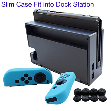 Hikfly 3in1 Ultra Slim Docked PC Cover Case for Nintendo Switch(Transparent Black) & Silicone Covers (Blue) for Joy-Con Controllers with 8pcs Thumb ...