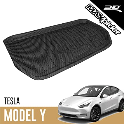 Largest Coverage SurmountWay Tesla Model Y Floor Mat 3D All-Weather Anti-Slip Waterproof Floor Liners Set TPE Odourless Rubber fits Tesla Model Y 2020