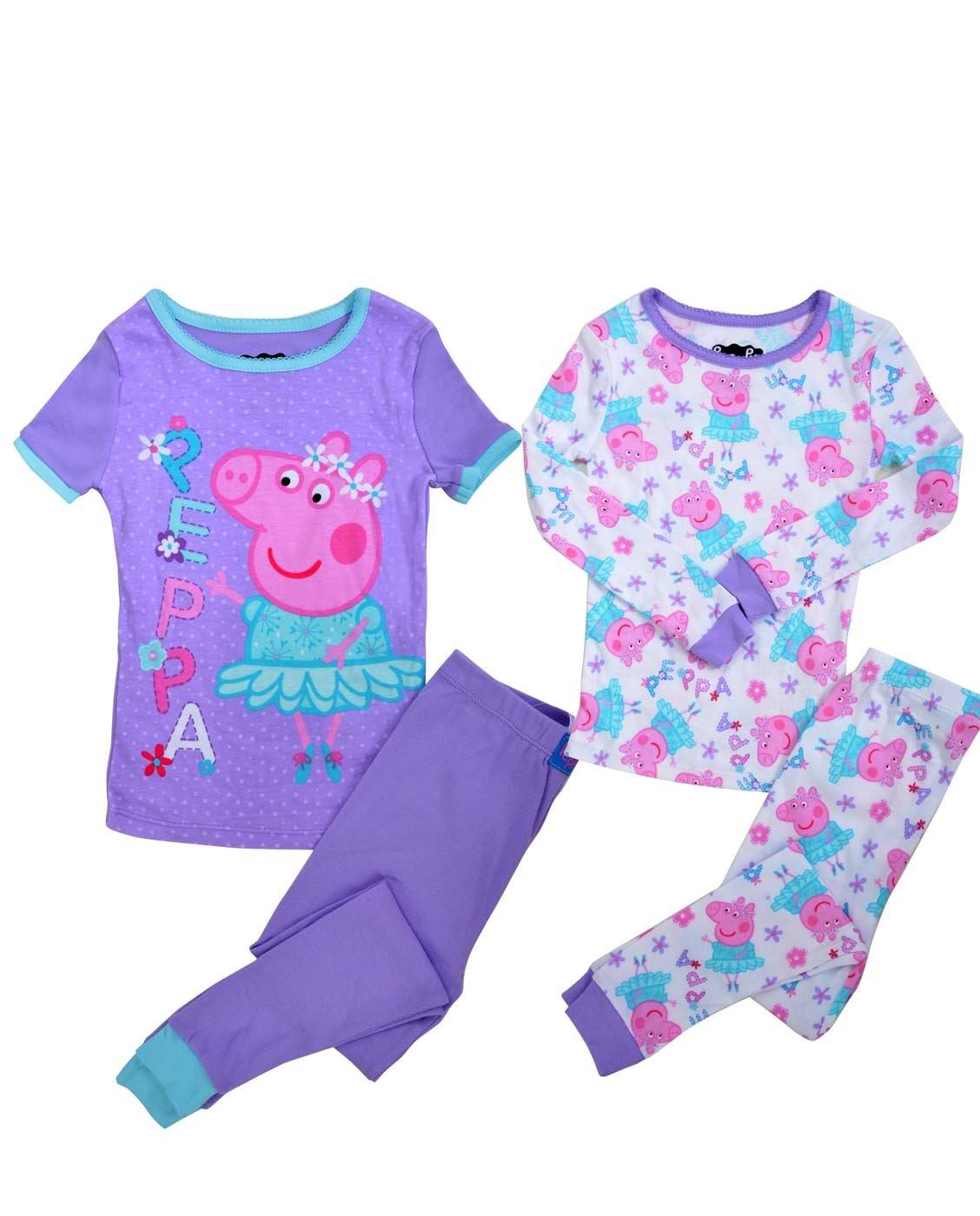 Peppa Pig Toddler Girls' Ballerina 4 Piece Cotton Pajama Set, Purple, 4T