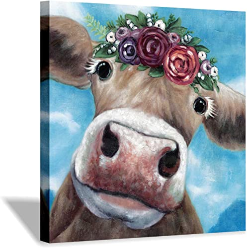 Farm Animal Canvas Cow Wall Art Wearing Flowers on The Head Cow Canvas Painting Wall Art for Living Room 24 x 24 x 1 Panel