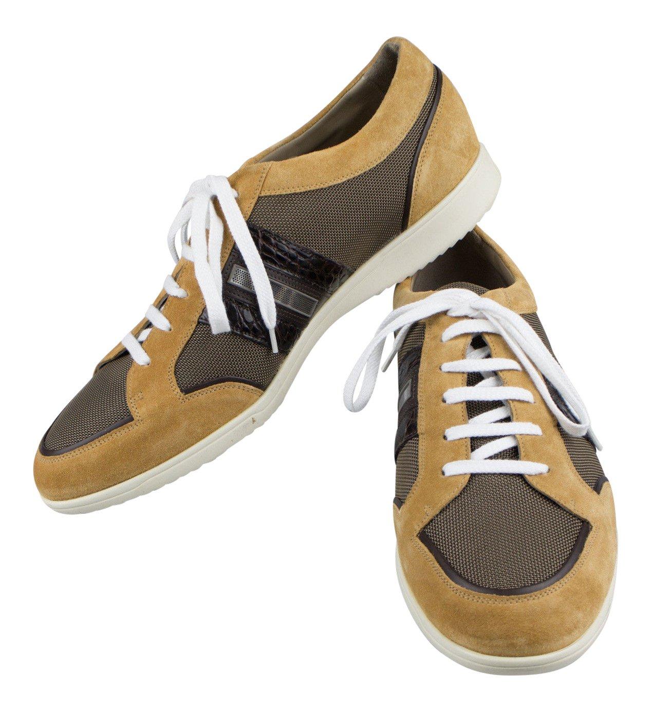 Brioniブラウンスエード/キャンバスwithクロコダイルレザースニーカー靴サイズ11 / 44   B01K3ZE93U