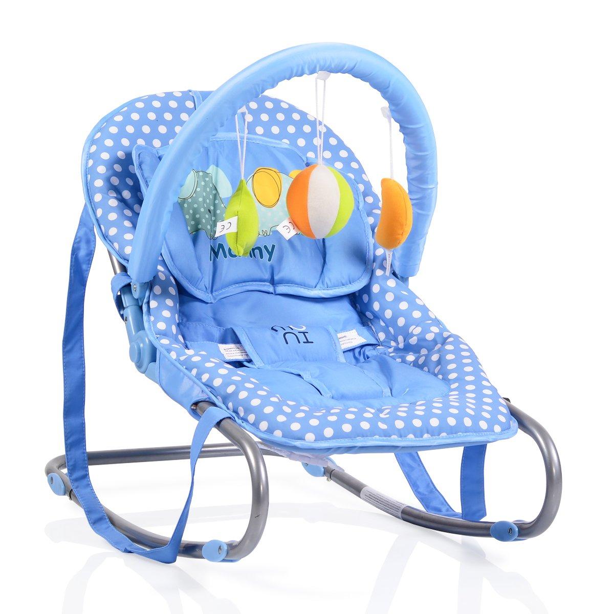 Spielbogen Babywippe Manny verstellbar Blau 3-Punkt-Sicherheitsgurt Tragehenkel