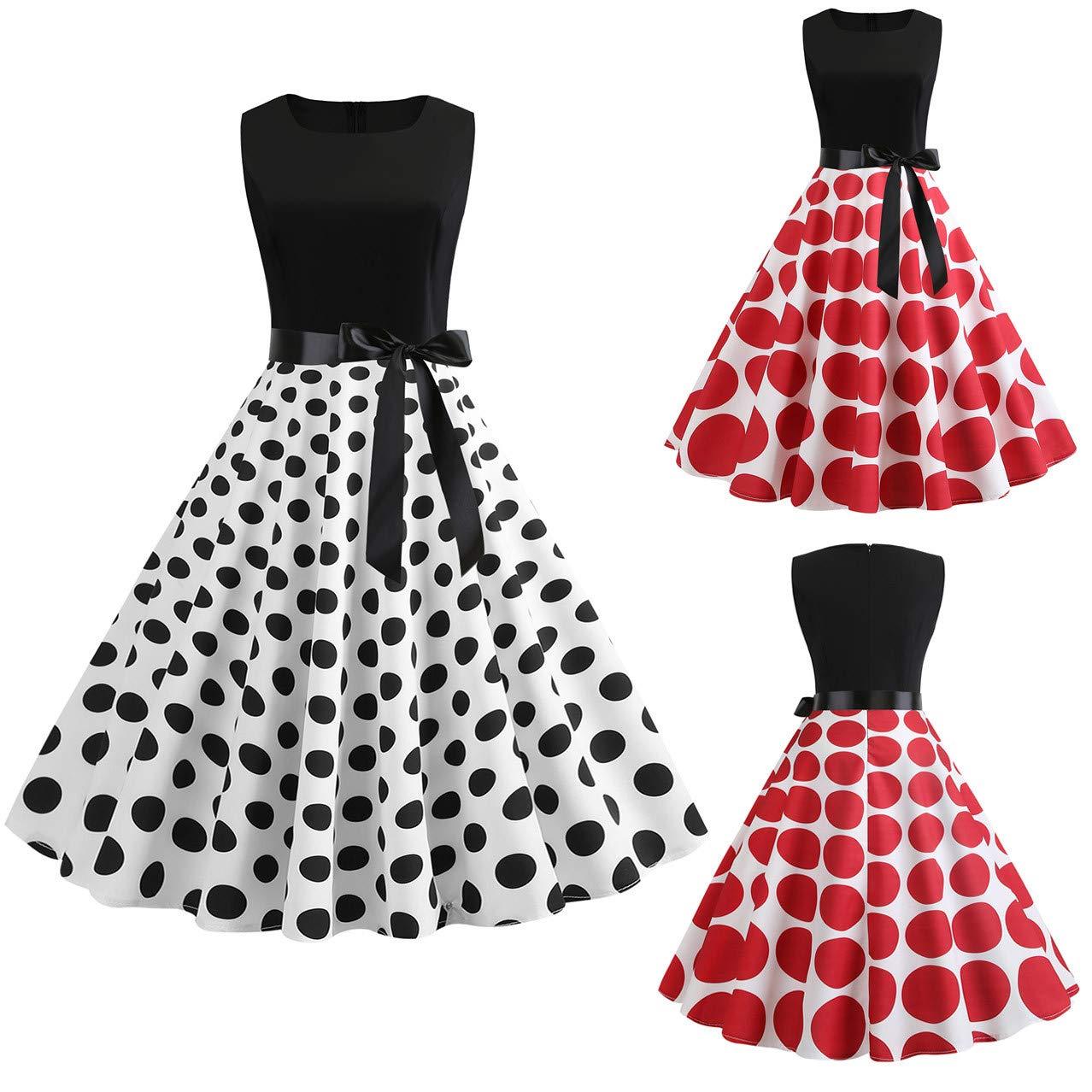 Cloudro Dress Vintage 1950s Retro Sleeveless O Neck Print Evening Party Prom Swing Dress