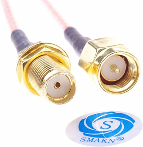 Mirror 2PCS SMA Female Bulkhead Connector to SMA Male Straight Connector with RG316 Coax Cable 20cm