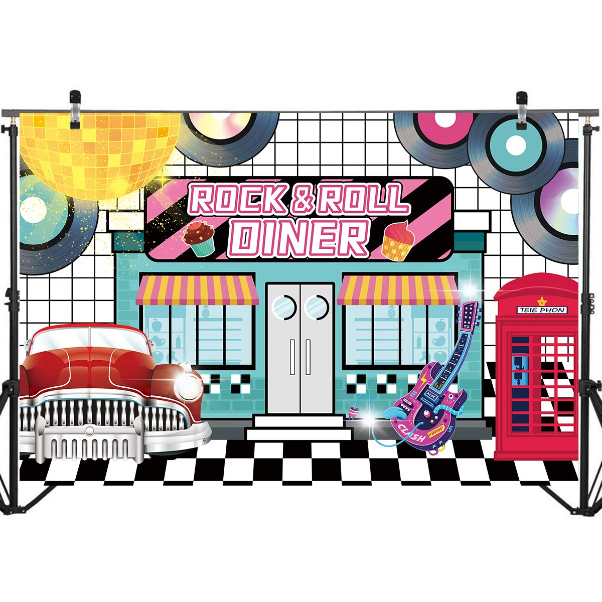 50's Theme Party Decor Happy Birthday Backdrop,Retro Rock and Roll Backdrop Background Banner 1950's Party Decorations Birthday Baby Shower Party Supplies 71 x 49 inch
