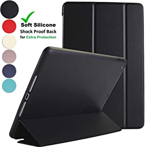 DuraSafe Cases for iPad Air 1 Gen 2013 9.7 Inch [ A1474 A1475 ] Soft Silicone Back (for Extra Shock Protection) Ultra Slim Smart Cover Auto Sleep/Wake : Soft Back - Black