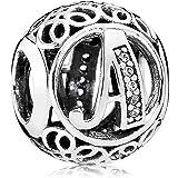 Everbling 复古字母 A-Z 透明 CZ 925 纯银珠子适合潘多拉吊坠手链
