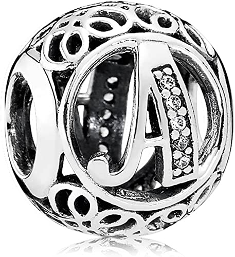 Amazon Com Everbling Vintage Letter A Clear Cz 925 Sterling Silver Bead Fits Pandora Charm Bracelet Jewelry