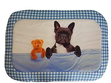 Caseta/alfombra/colchón perro con Bulldog Francés, un solo panel: Amazon.es: Hogar