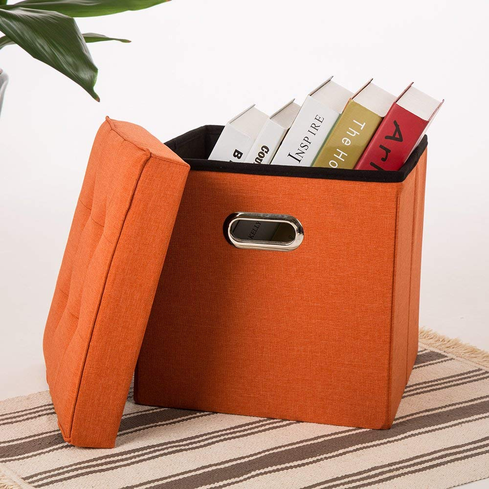 Glitzhome 15''x15''x15'' Foldable Faux Suede Cube Storage Ottoman with Padded Seat (Orange) by Glitzhome