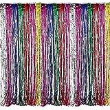 Adorox Metallic Silver Gold Rainbow Foil Fringe Curtains Party Wedding Event Decoration (Metallic Rainbow)