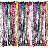 Adorox Metallic Silver Gold Rainbow Photo Backdrop Foil Fringe Curtains Party Wedding Event Decoration (Metallic Rainbow)