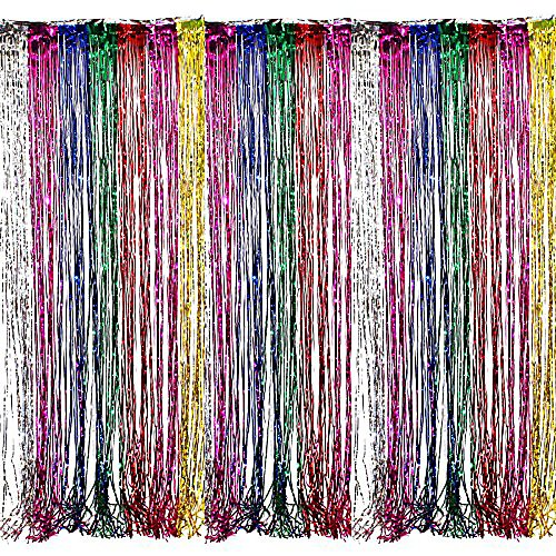 Adorox Metallic Silver Gold Rainbow Photo Backdrop Foil Fringe Curtains Party Wedding Event Decoration (Metallic Rainbow) -