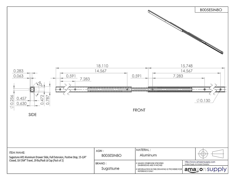 Sugastune AR3 Aluminum Drawer Slide 32 lbs//Pack Ld Cap Full Extension 1 Pair 3-15//16 Travel 3-15//16 Closed Positive Stop