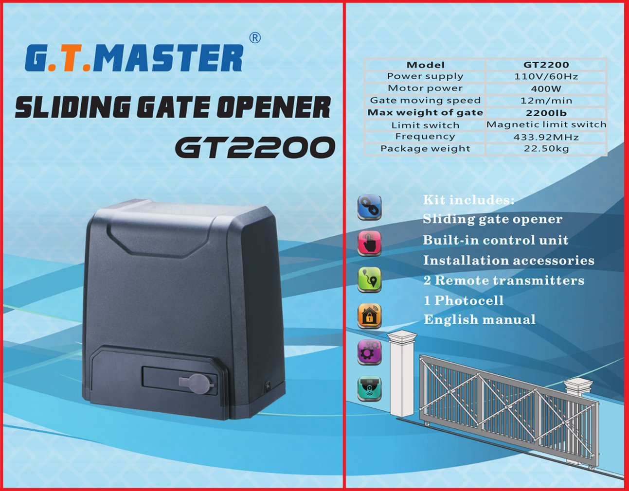 Gtmaster Sliding Automatic Gate Opener Kit Driveway Operator User S Manual Schematic Diagram Wiring Security Door Hardware With Two Remotes Control And Infrared Photocell